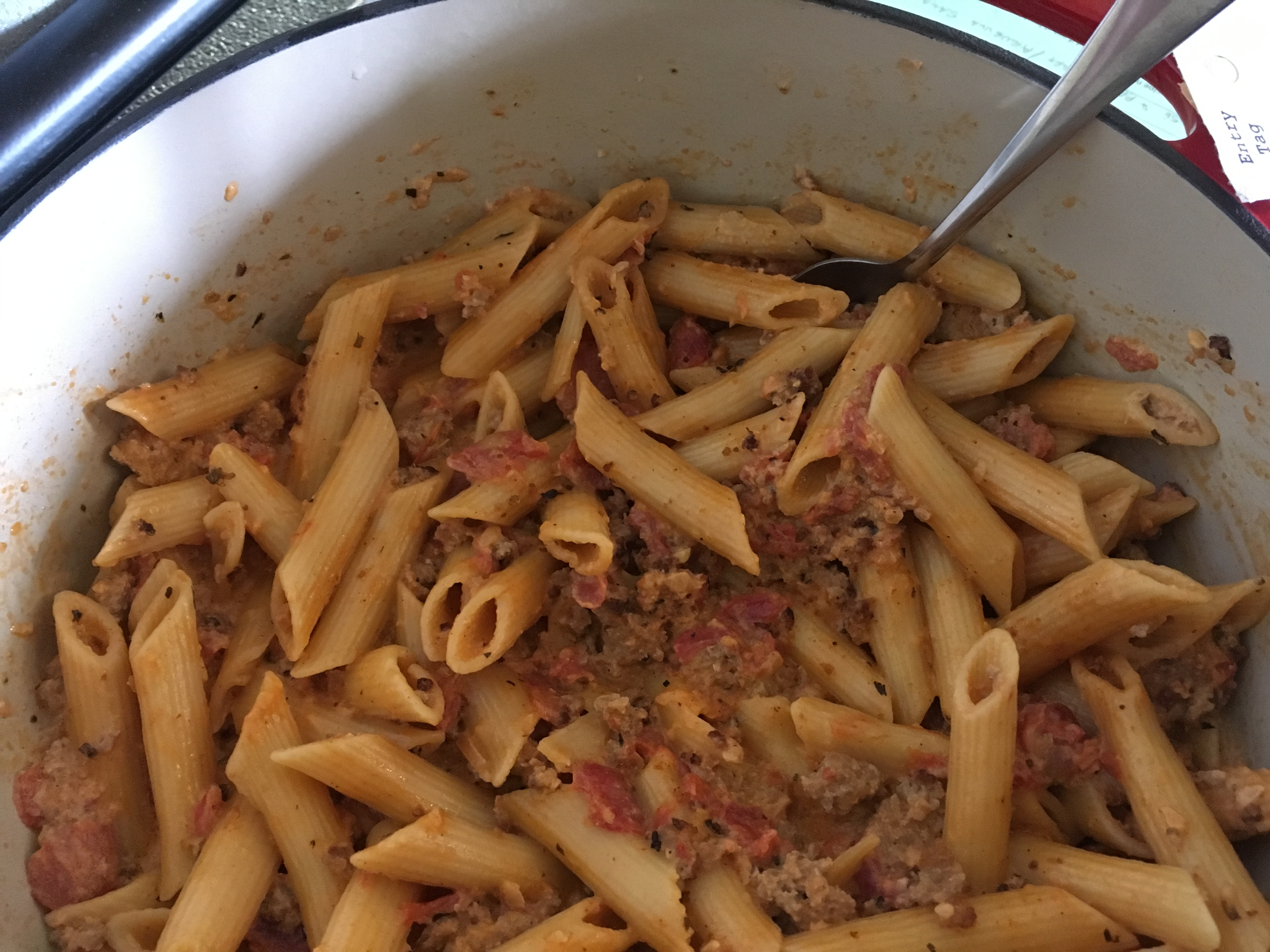 Homemade Italian Sausage and Hoosier Style Creamy Penne