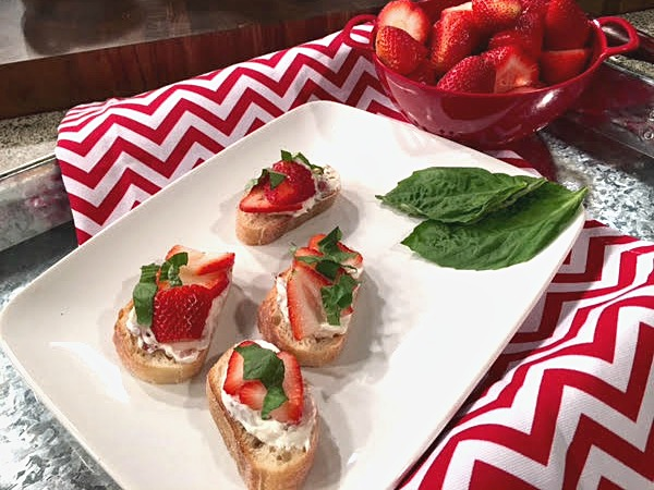 Savory Strawberry, Bacon and Cream Cheese Crostini