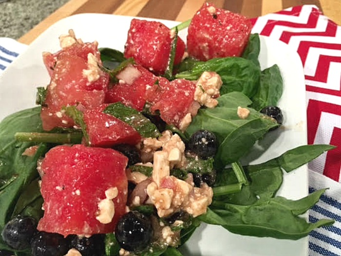 Watermelon, Feta and Blueberry Salad with Mint